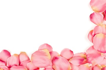 Pink fabric rose petals corner over red background top view from above - marriage, love, wedding or valentine's day background