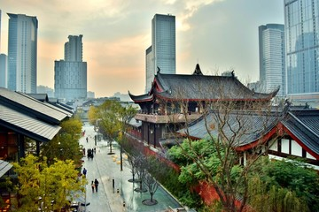 Chengdu, Old and New (Temples, Shopping District, and Modern City Center) - Chengdu, China  Fototapete