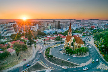 Aerial View of Namibia's Capital at Sunset  - Windhoek, Namibia