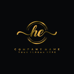 HE Initial handwriting logo design with golden brush circle. Logo for fashion,photography, wedding, beauty, business