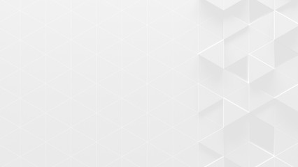 White Triangle Geometric Background With Copy Space (3d Illustration)