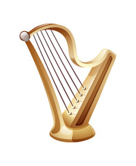 Beautiful golden harp with five strings. Classic musical string instrument.