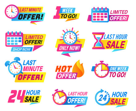 Sale countdown badges. Big deal, limited sale announcement. Promo stickers last day, hour and minute timer. Best offer labels vector set
