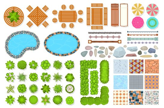Top view park items. Public furniture outdoor relaxing chair, bench and umbrella. Gardens trees and water pool. Aerial vector landscape set