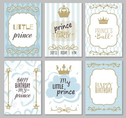 Prince frames. Cute boy party invitation shower or sweet photo borders for elegant blue decor of card vector templates