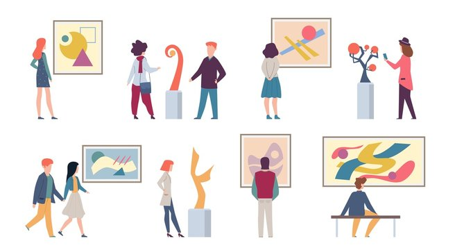 Exhibition visitors. Young tourists looking art fashion abstract paintings and taking photos in museum or gallery, vector illustration