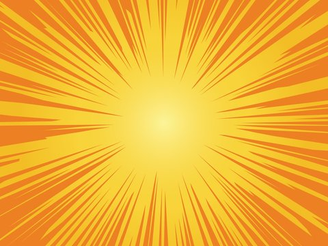 Orange sun background. Sunrise vintage circle shiny design with heating star yellow graphic rays vector pattern