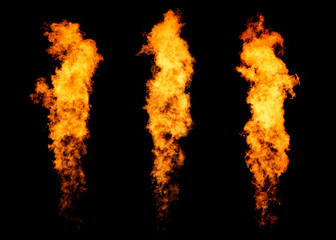 Deurstickers Vuur Set of three fire jets isolated on black, flame collection
