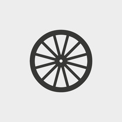wooden wheel icon. vector illustration