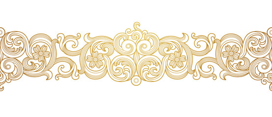 Vector golden seamless border for design template. Elements in Victorian style. Luxury floral frame. Ornate decor for invitations, greeting cards, certificate, thank you message.