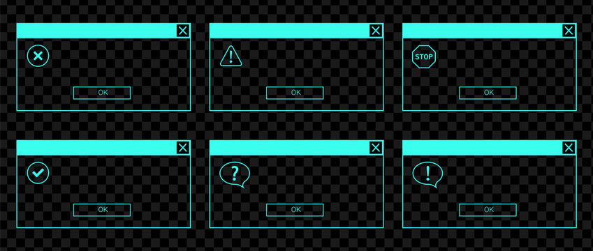 Glowing neon UI set of the error messages and system dialog boxes.