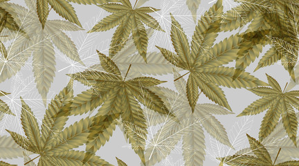 Abstract Cannabis leaf gold, marijuana leaves Seamless Pattern Background Vector Illustration. Wall mural