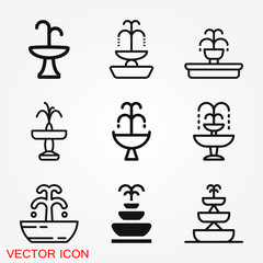 Fountain icon, vector illustration fountain with water splash