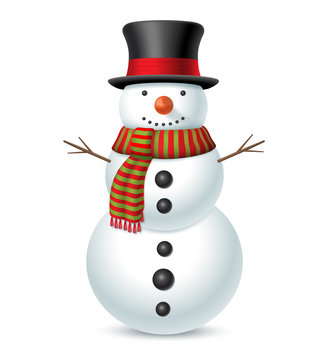Snowman with hat and scarf isolated on white background. Vector illustration