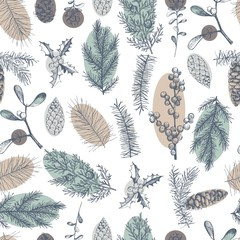 Vector  seamless pattern with hand drawn Christmas plants