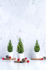 Three christmas tree with pine cone and decor xmas ball on white table and marble tile wall...