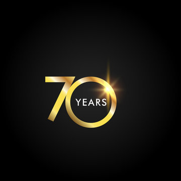 70 Years Anniversary Celebration Gold Vector Template Design Illustration