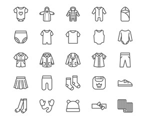Baby clothes flat line icons set. Bodysuit, coverall, romper, buster suit, newborn nest, girl dress vector illustrations. Outline signs for children fashion store. Pixel perfect 64x64 Editable Stroke