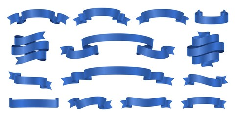 Blue ribbons. Realistic ribbon banners vector collection. Illustration flag ribbon banner, blue realistic label