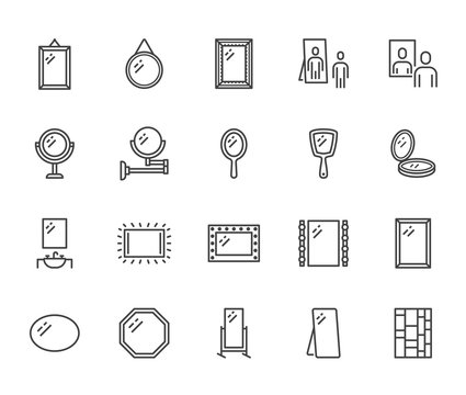 Mirror, reflection flat line icons set. Various mirrors - round, makeup, full length, bathroom interior vector illustrations. Outline signs for furniture store. Pixel perfect 64x64. Editable Strokes