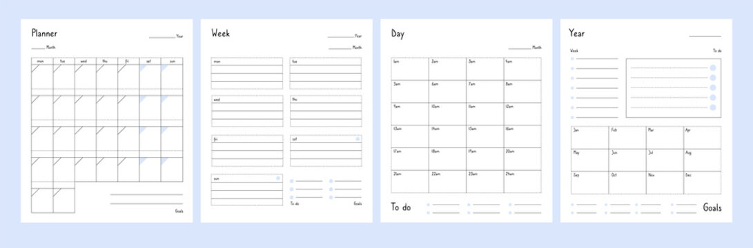 Planner templates. Year, weekly and day planning tabs for notebook pages. Business book diary, office organizer plans vector set. Illustration planner year and date, day plan calendar