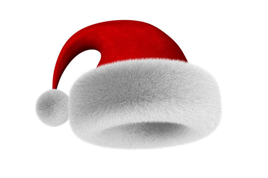 santa claus hat on white background. Isolated 3D illustration