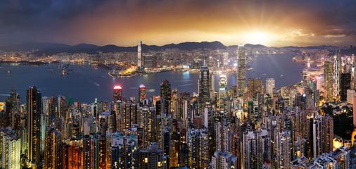 Fotomurales - Hong Kong skyline panorama at dramatic sunset, China - Asia