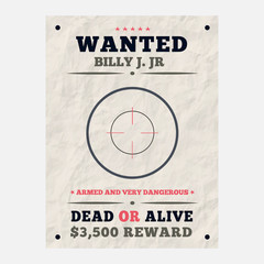 Wanted vintage western poster template with target icon, Layered, separate grunge texture and text