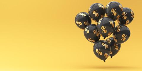 Black balloons with golden percent on a golden background. Black Friday. 3d render illustration for advertising.