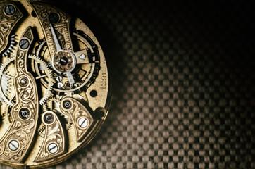 Close up inside mechanical vintage watch. Handmade engraving. Concept eternity, teamwork. Soft...