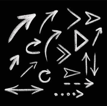Chalk arrow vector set. Chalk graphic arrow collection . Vector illustration eps 10