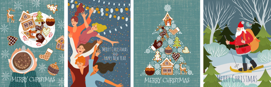 Bundle of vector christmas cards with gingerbread cookies, dancing people and santa claus skiing in the forest . Cute flat hand draw