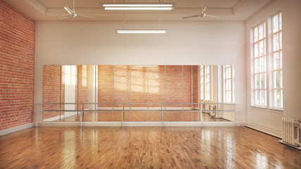 Dance or ballet studio interior. 3d illustration