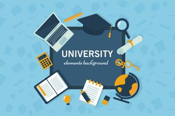 Elements of student life, university vector illustration