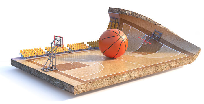 Sport concept. Basketball field on a piece of ground isolation on a white background. 3d illustration