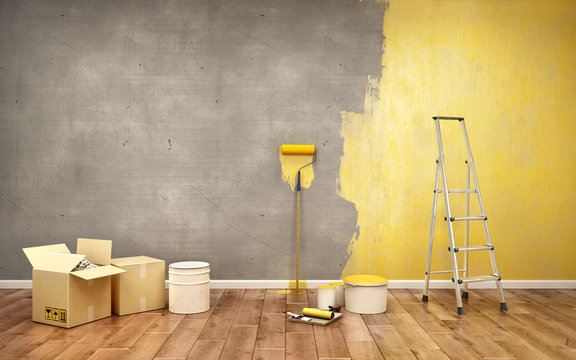 Half-painted in yellow concrete wall, 3d illustration