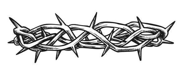 Crown Of Thorns Jesus Christ Side View Ink Vector. Crown Is Crafted In Israel As Reminder Of Sufferings Of Christ To Put Away Sin. Engraving Template Designed In Retro Style Monochrome Illustration