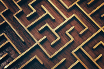 Wooden brown labyrinth maze puzzle close up