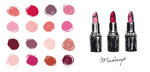 Makeup set. Lipstick hand drawn illustration.