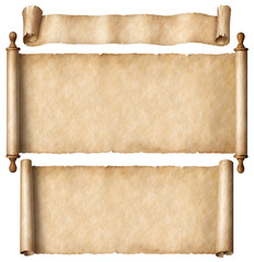 Wall Mural - Old paper scrolls set isolated on white