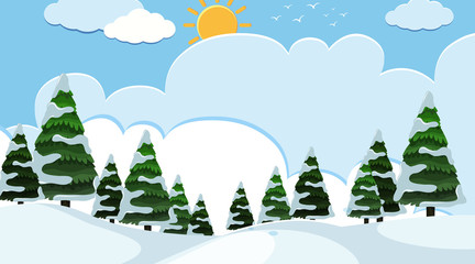 Background design of landscape with snow field at day time