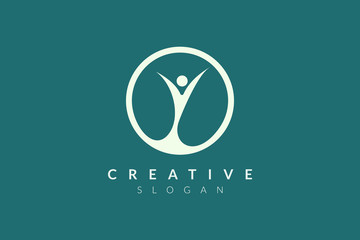 Logo design of people who are happy to celebrate something. Minimalist and modern vector design suitable for community, business, and product brands