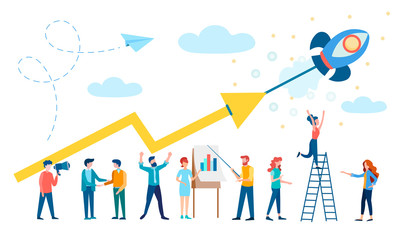 Revenue growth, Successful Startup, Teamwork, Office workers are working to increase revenue.