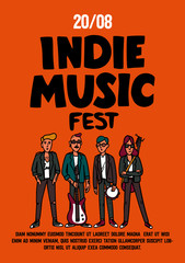 Indie music festival poster or flyer template. Illustration of musicians and and indie rock fest inscription on yellow background. Template for banner, card, poster. Vector.