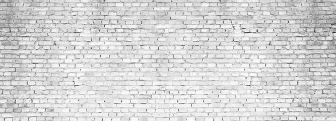 Fotobehang - Panoramic background of old vintage white brick wall