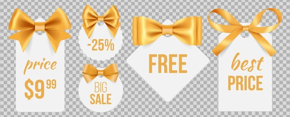 Sale tags. Gold silk bows and promo badges. Vector holidays sale labels with decorative satin ribbons isolated on transparent background. Illustration sale free, satin label to marketing
