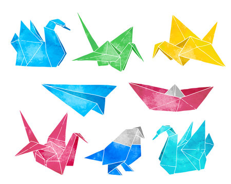 Origami hand drawn vector set, watercolor style, folder paper art color animals, birds, boat, plane shapes isolated on white background