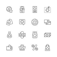 Bonus icon. Discounts tickets benefits exchanges loyalty programs prize packages vector thin line symbols. Illustration money bonus, business reward ticket and benefit