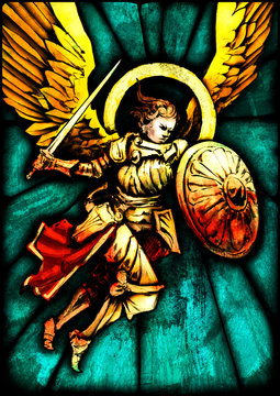 Stained glass with the image of an angel flying to the attack, in gold armor with a sword and a shield . 2D illustration