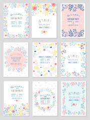 Estores personalizados infantiles con tu foto Set Of Party Invitation With Cute Floral Design In Pastel Colors Vector Illustration